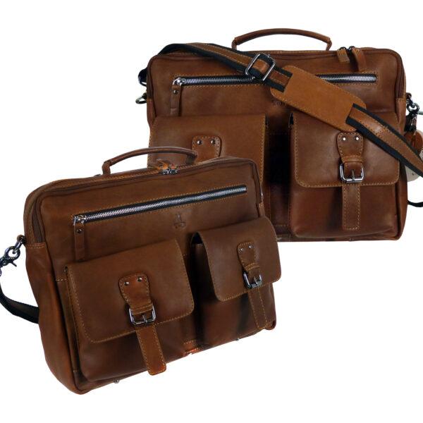 CASTER Leder Aktentasche Laptoptasche Businesstasche